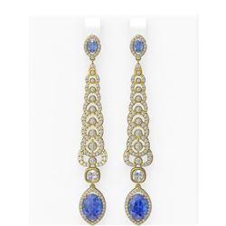 8.64 ctw Tanzanite & Diamond Earrings 18K Yellow Gold