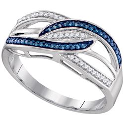 Sterling Silver Round Blue Color Enhanced Diamond Crossover Strand Band 1/8 Cttw