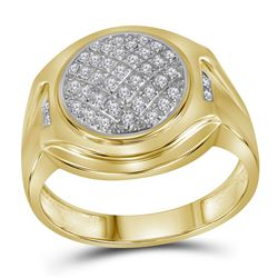 10kt Yellow Gold Mens Round Diamond Circle Cluster Fashion Ring 1/3 Cttw