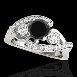 2.01 ctw Certified VS Black Diamond Bypass Solitaire Ring 10k White Gold