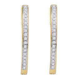 10kt Yellow Gold Round Diamond Single Row Hoop Earrings 1/10 Cttw