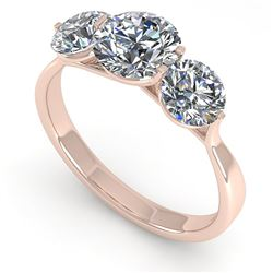 2 ctw Past Present Future VS/SI Diamond Ring Martini 18k Rose Gold