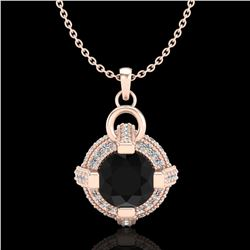 1.57 ctw Fancy Black Diamond Micro Pave Stud Necklace 18k Rose Gold