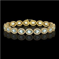 14.82 ctw Sky Topaz & Diamond Micro Pave Halo Bracelet 10k Yellow Gold