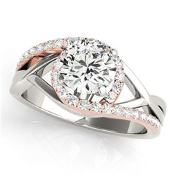 1.3 ctw Certified VS/SI Diamond Bypass Solitaire Ring 18k 2Tone Gold