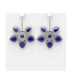 31.28 ctw Sapphire Diamond Earrings 18K White Gold