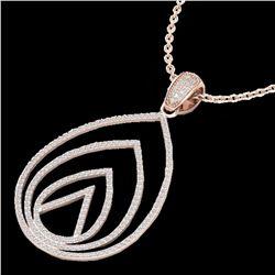 1.25 ctw Micro Pave VS/SI Diamond Designer Necklace 14k Rose Gold