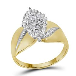 14kt Yellow Gold Round Diamond Oval Marquise-shape Cluster Ring 1/8 Cttw