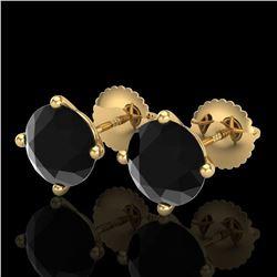 3.01 ctw Fancy Black Diamond Art Deco Stud Earrings 18k Yellow Gold