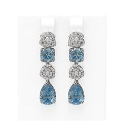 9.7 ctw Blue Topaz & Diamond Earrings 18K White Gold