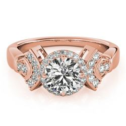 1.56 ctw Certified VS/SI Diamond Solitaire Halo Ring 14k Rose Gold