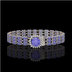 27.75 ctw Tanzanite & Diamond Bracelet 14K White Gold