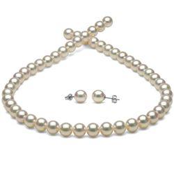 White Hanadama Japanese Akoya Pearl Jewelry Set, 8.0-8.5mm