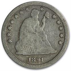 1891-S Liberty Seated Quarter VG