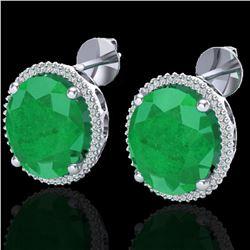 25 ctw Emerald & Micro Pave VS/SI Diamond Earrings 18k White Gold