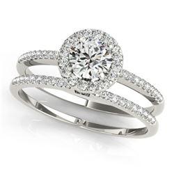 1.11 ctw Certified VS/SI Diamond 2pc Wedding Set Halo 14k White Gold