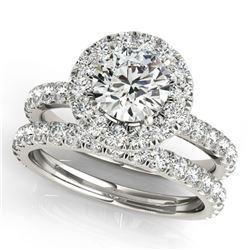 1.79 ctw Certified VS/SI Diamond 2pc Wedding Set Halo 14k White Gold