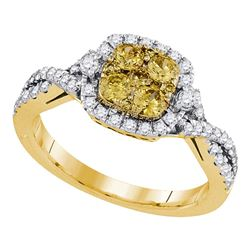 14kt Yellow Gold Round Natural Canary Yellow Diamond Square Cluster Ring 1.00 Cttw