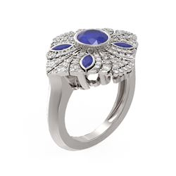 2.32 ctw Sapphire & Diamond Ring 18K White Gold