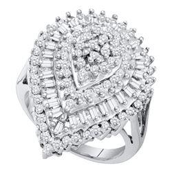 10kt White Gold Round Baguette Diamond Teardrop Cluster Ring 1.00 Cttw