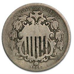 1866 Shield Nickel w/Rays VG