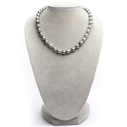 "Strong Silver and Pale Aquamarine Tahitian Baroque Pearl Necklace, 18"", 8.2-9.0mm, AA+ Quality"