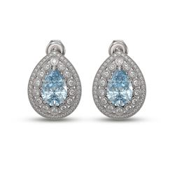 7.15 ctw Aquamarine & Diamond Victorian Earrings 14K White Gold