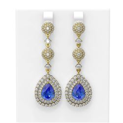 10.87 ctw Tanzanite & Diamond Earrings 18K Yellow Gold