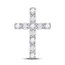 14kt White Gold Round Diamond Religious Cross Pendant 1/4 Cttw