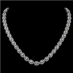 17.28 ctw Pear Cut Diamond Micro Pave Necklace 18K White Gold