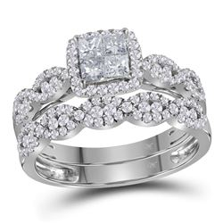 14kt White Gold Princess Diamond Halo Bridal Wedding Engagement Ring Band Set 1.00 Cttw