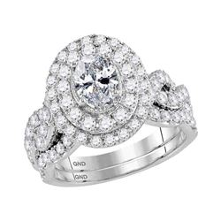 14kt White Gold Oval Diamond Bridal Wedding Engagement Ring Band Set 2.00 Cttw
