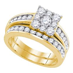 14kt Yellow Gold Round Diamond Halo Bridal Wedding Engagement Ring Band Set 1-1/2 Cttw