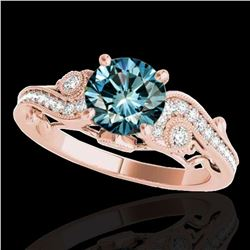 1.25 ctw SI Certified Fancy Blue Diamond Antique Ring 10k Rose Gold