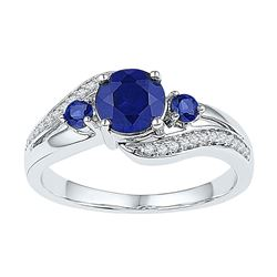 Sterling Silver Round Lab-Created Blue Sapphire 3-stone Ring 1.00 Cttw
