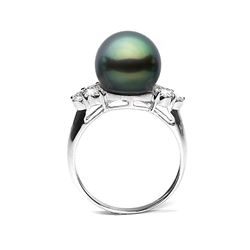Black Tahitian Pearl and Diamond Anniversary Ring