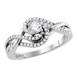 14kt White Gold Round Diamond Solitaire Swirl Crossover Bridal Wedding Engagement Ring 1/2 Cttw