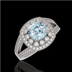 2.39 ctw Certified Aquamarine & Diamond Victorian Ring 14K White Gold
