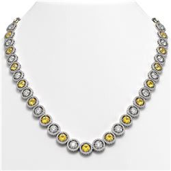 35.54 ctw Canary & Diamond Micro Pave Necklace 18K White Gold