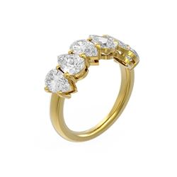 3.12 ctw Pear Diamond Ring 18K Yellow Gold
