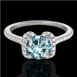 1.33 ctw SI Certified Fancy Blue Diamond Halo Ring 10k White Gold