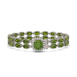 17.35 ctw Tourmaline & Diamond Bracelet 14K White Gold