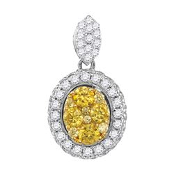 14kt White Gold Round Canary Yellow Diamond Oval Cluster Pendant 1.00 Cttw