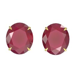 18 ctw Ruby Designer Solitaire Stud Earrings 18k Yellow Gold