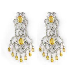 17.30 ctw Yellow Sapphire & Diamond Earrings 18k White Gold