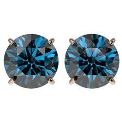 4 ctw Certified Intense Blue Diamond Stud Earrings 10k Rose Gold