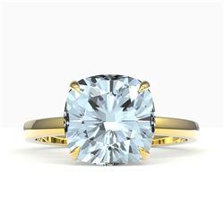 4.50 ctw Cushion Cut Aquamarine Designer Engagment RNG 18k Yellow Gold