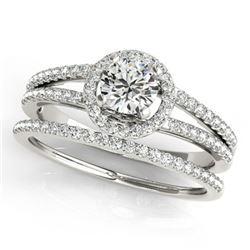 0.85 ctw Certified VS/SI Diamond 2pc Wedding Set Halo 14k White Gold