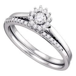 10k White Gold Round Diamond Halo Wedding Bridal Ring Set 1/4 Cttw