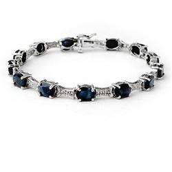 11.39 ctw Blue Sapphire & Diamond Bracelet 14k White Gold